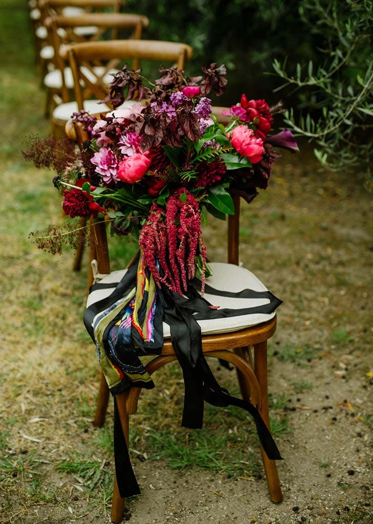 flowers on bistro chair