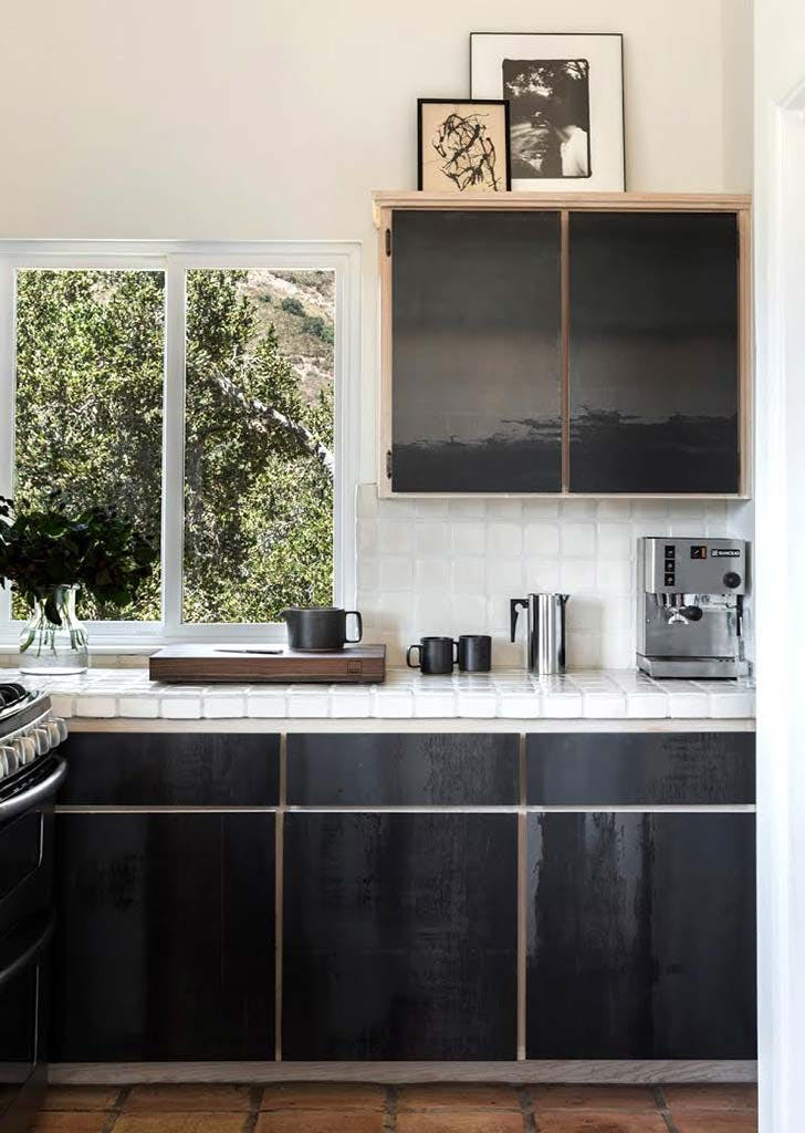glossy black cabinets