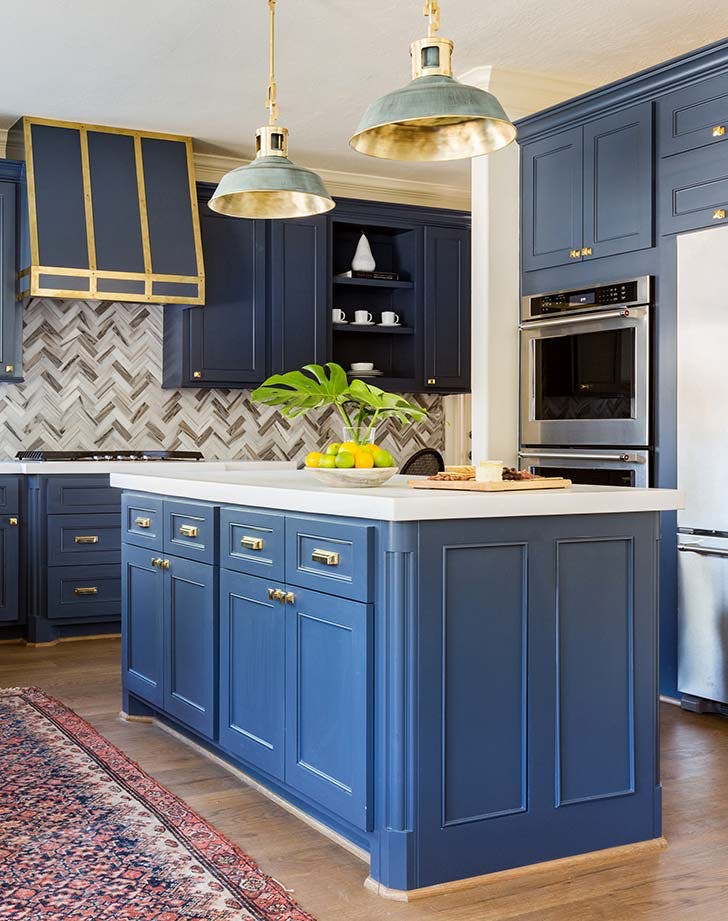 gold navy kitchen