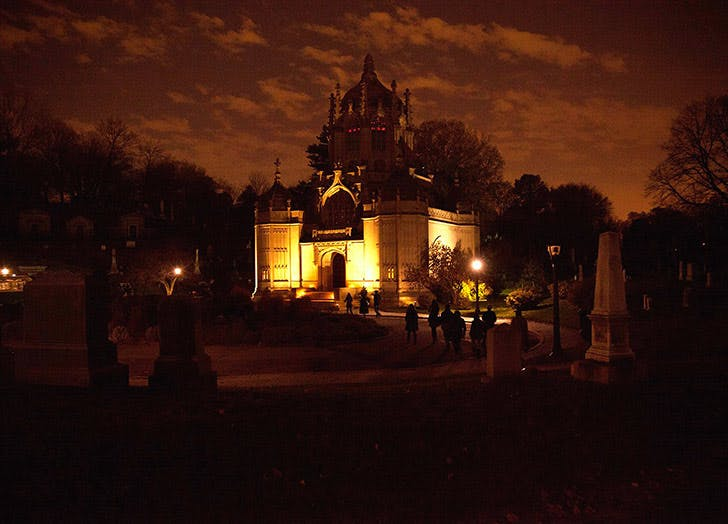 green wood cemetery at night
