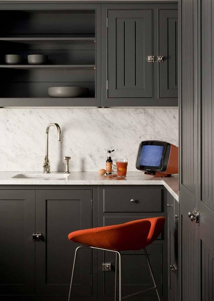 grey black plain english kitchen