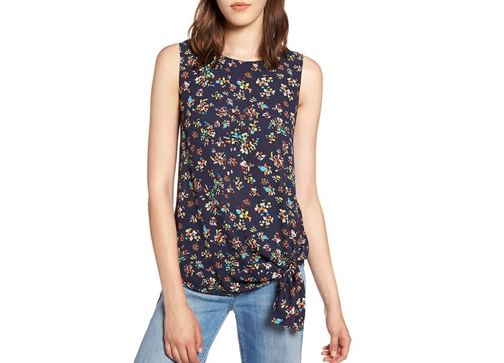 halogen asymmetrical hem floral top