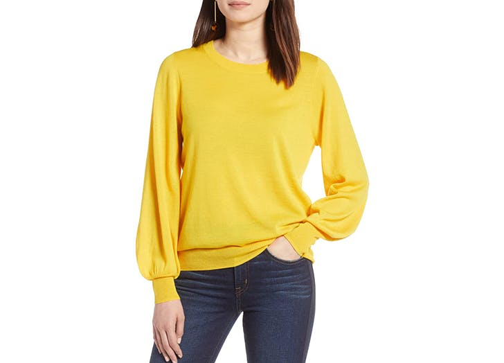 halogen bright yellow sweater