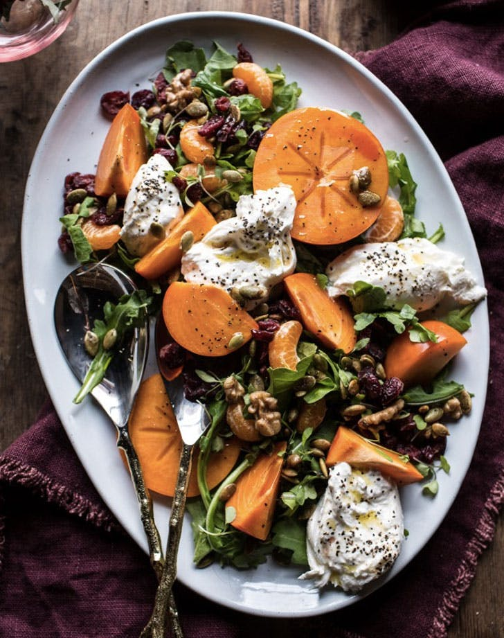harvest cranberry persimmon and burrata salad recipe