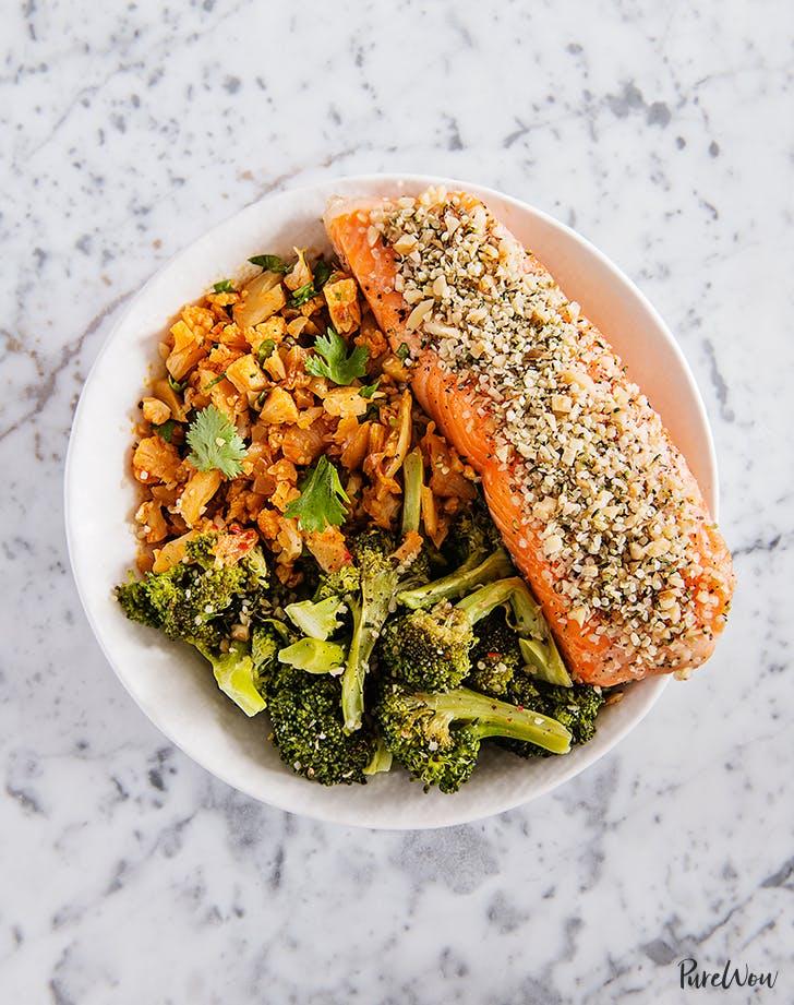 Hemp and Walnut Crusted Salmon with Broccoli and Kimchi Cauliflower Rice