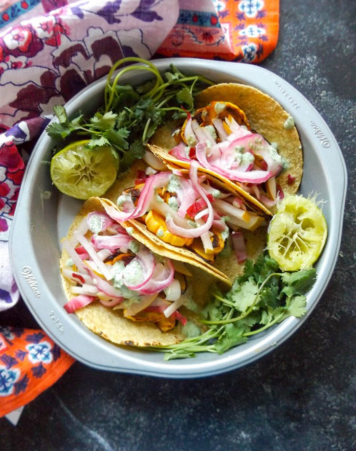 honeynut squash tacos pear radicchiho slaw recipe