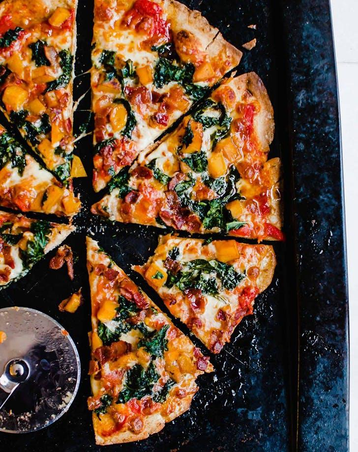 kale bacon butternut pizza hot honey drizzle recipe1