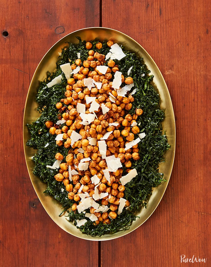 kale salad crispy chickpeas recipe