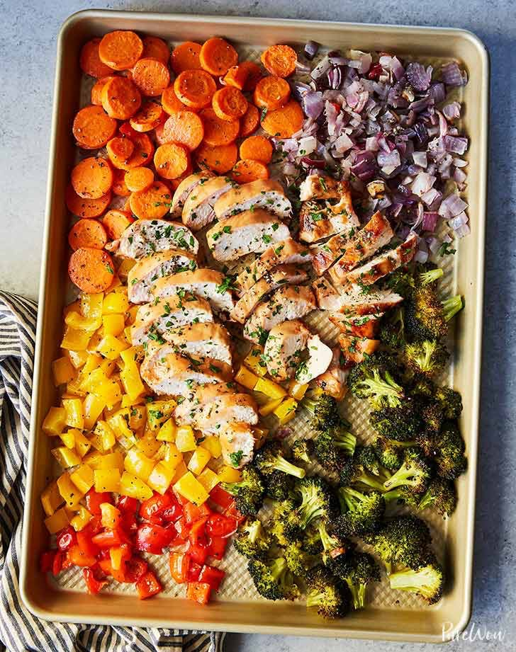 keto sheet pan chicken rainbow veggies