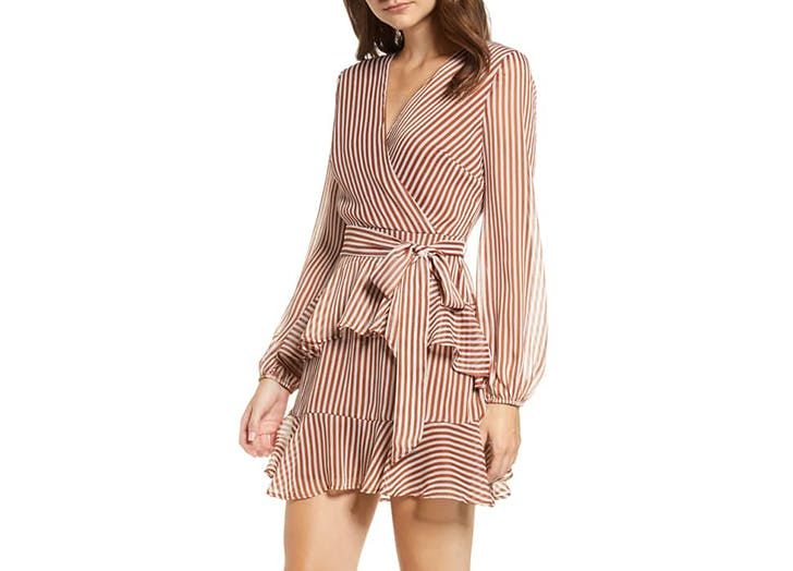 love fire stripe wrap dress
