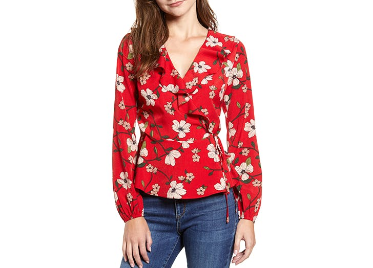 lydell floral wrap top