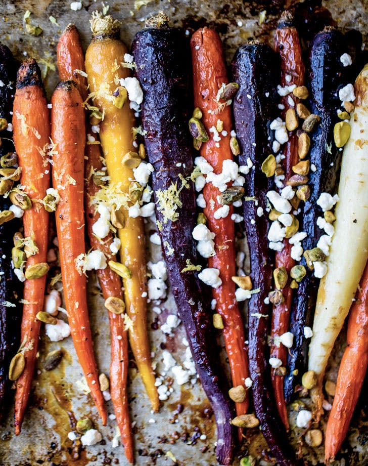 maple glazed carrots with goat cheese and pistachios recipe