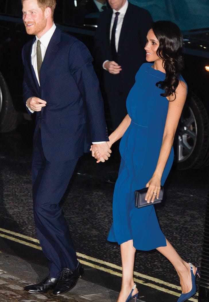 meghan markle prince harry gala blue dress
