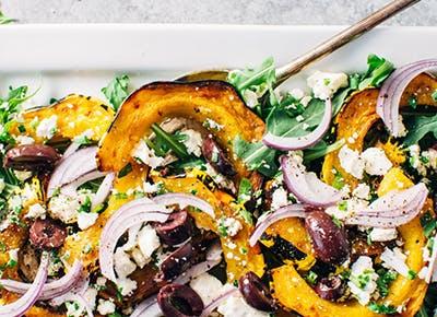 roasted squash arugula greek salad recipe 290