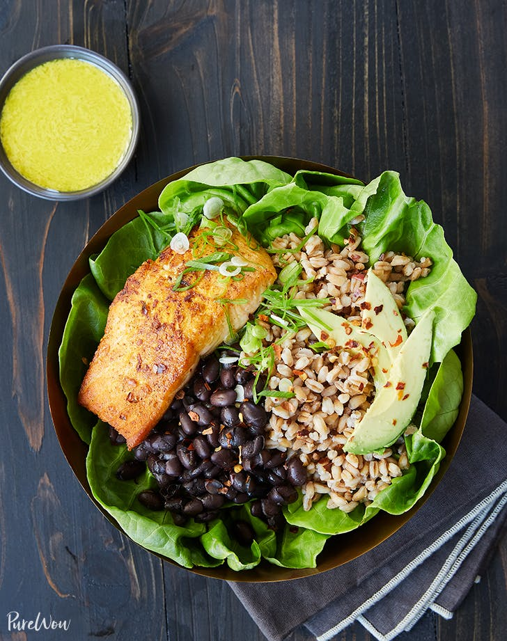 salmon bowl farro black beans tahini dressing recipe