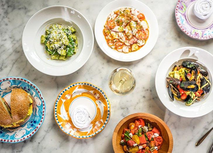 santina food plates wine