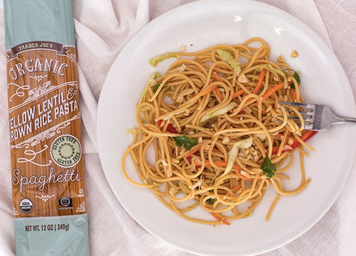 trader joes organic yellow lentil and brown rice spaghetti