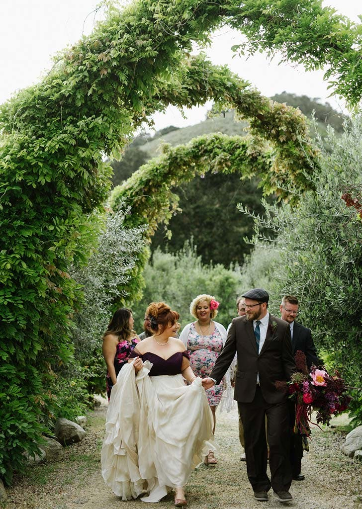 wedding party in olive grove
