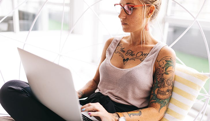 woman free writing to destress