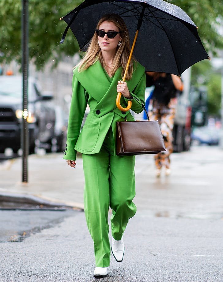 woman wearing all green