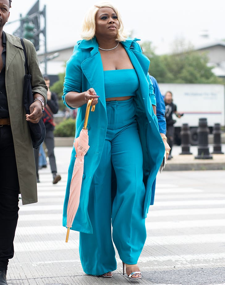 woman wearing all teal