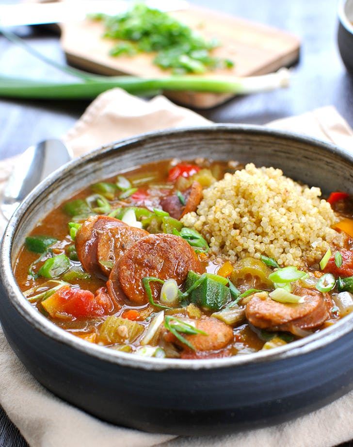 Coconut Curried Sausage and Veggie Gumbo recipe