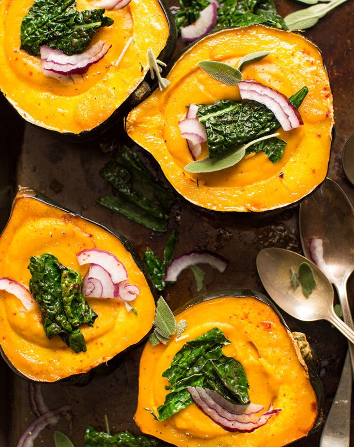 Creamy Fall Soup in Acorn Squash Bowls recipe