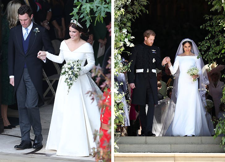 Princess Eugenie and Meghan Markle wedding dresses1
