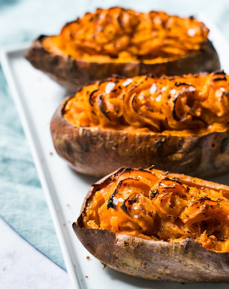 Twice Baked Harissa Sweet Potatoes recipe