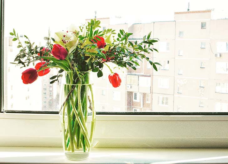 Vase with flowers by windowsill