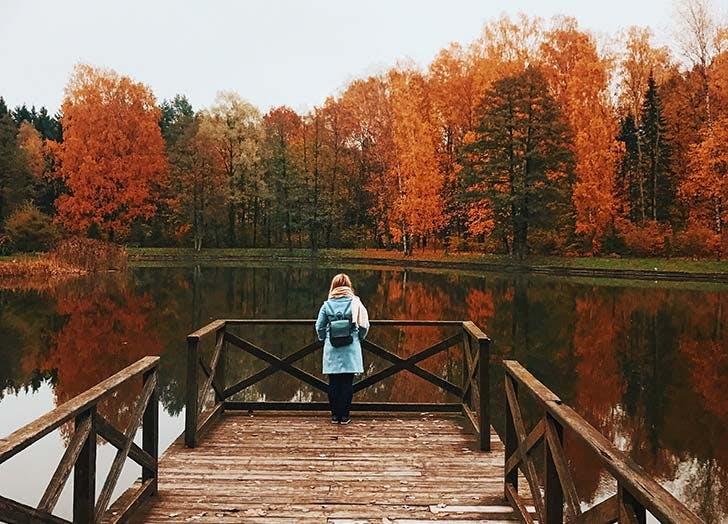 Woman outside in fall
