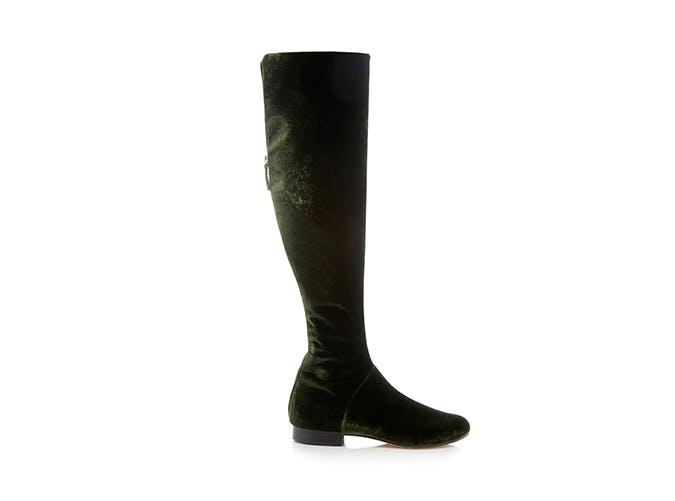 alberta ferretti velvet boots