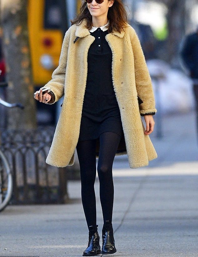 ankle boots with teddy bear coat