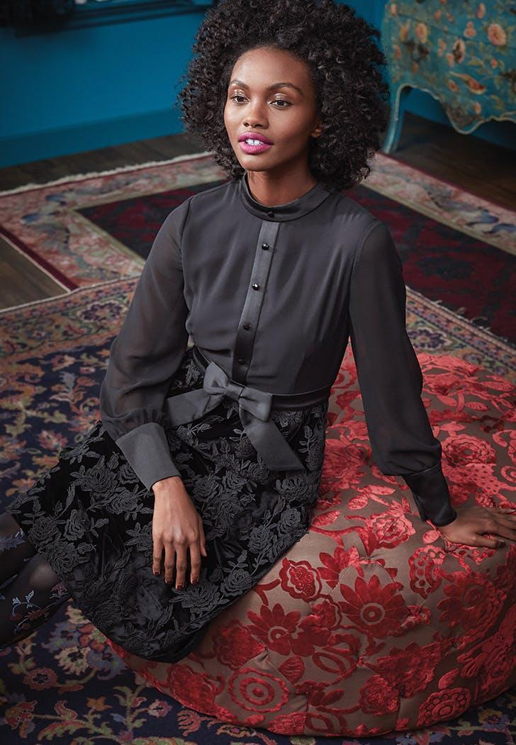 anna sui modcloth black dress