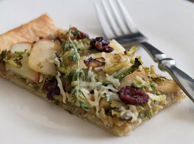 apple brussel sprout tart walknut pesto