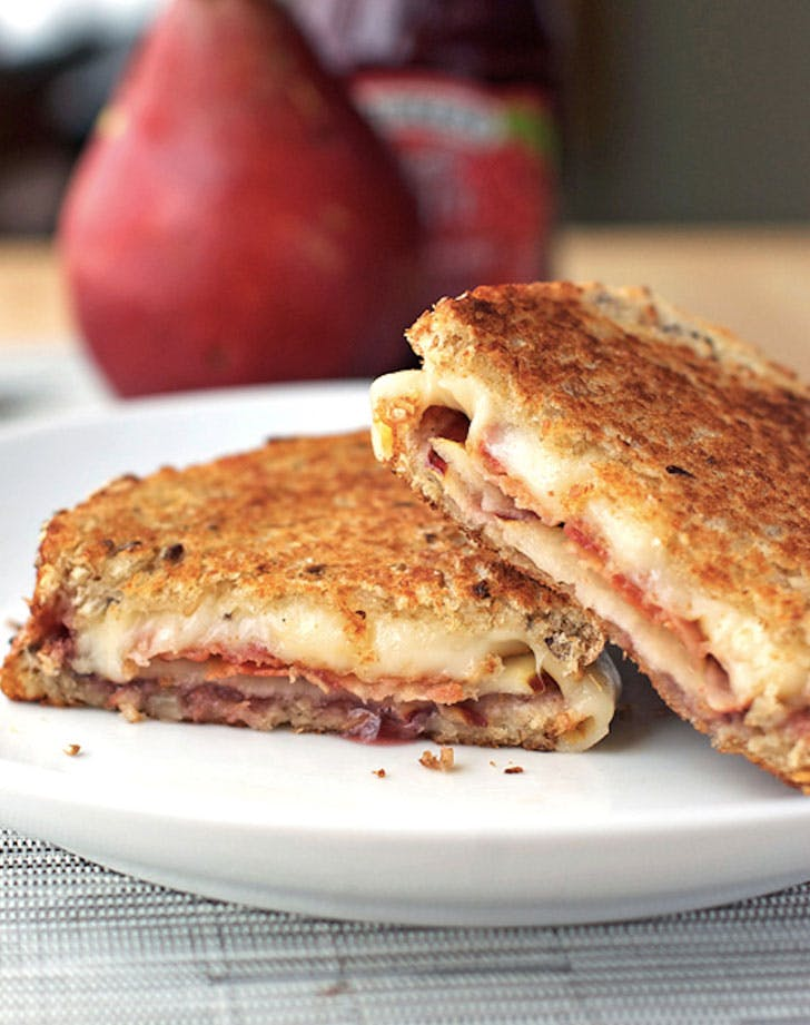 bacon pear and raspberry grilled cheese recipe