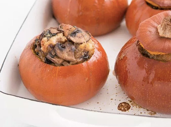 baked pumpkin with mushroom cheese spinach thanksgiving appetizer