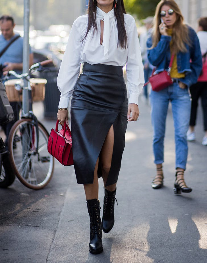black ankle boots with leather skirt