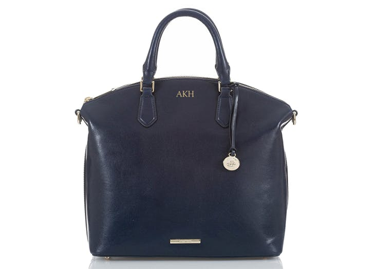 brahmin monogrammed leather satchel bag