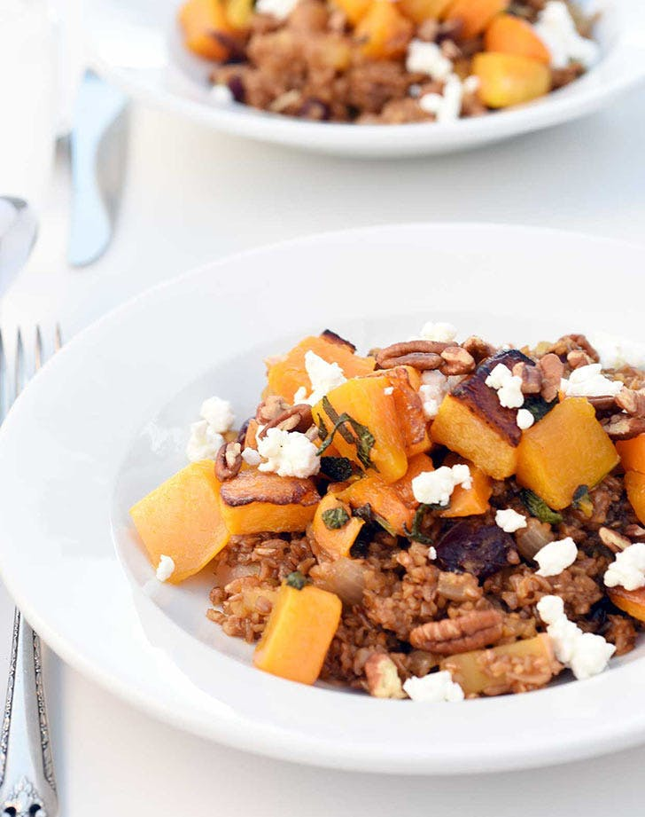 bulgur with roasted butternut squash sage goat cheese hero
