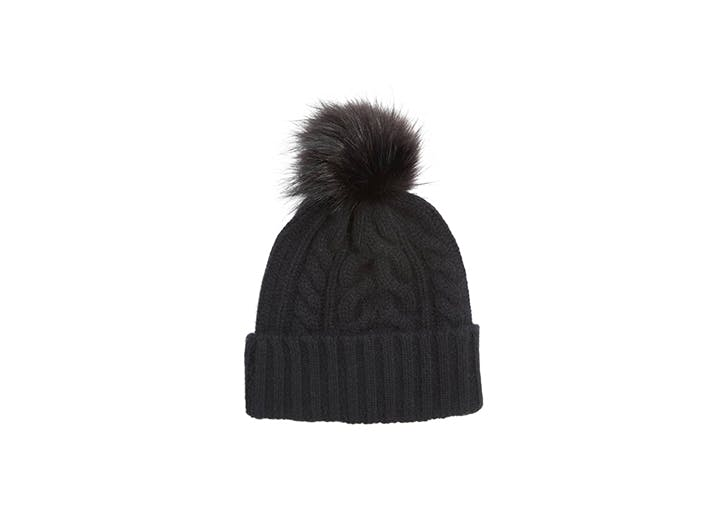 cashmere cable knit beanie with pom