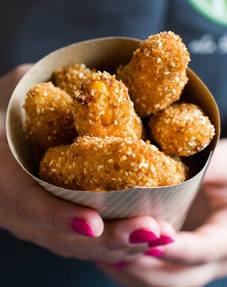 Crispy Baked Cauliflower-Corn Nuggets