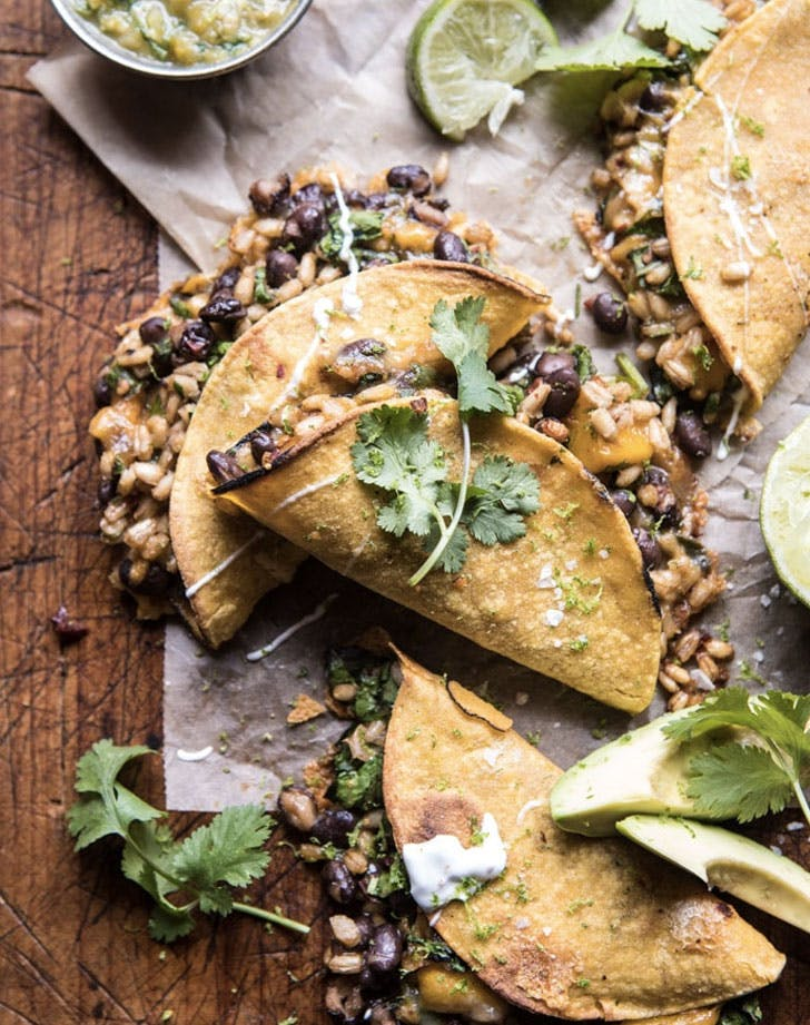 chipotle black bean brown rice and mango quesadillas recipe