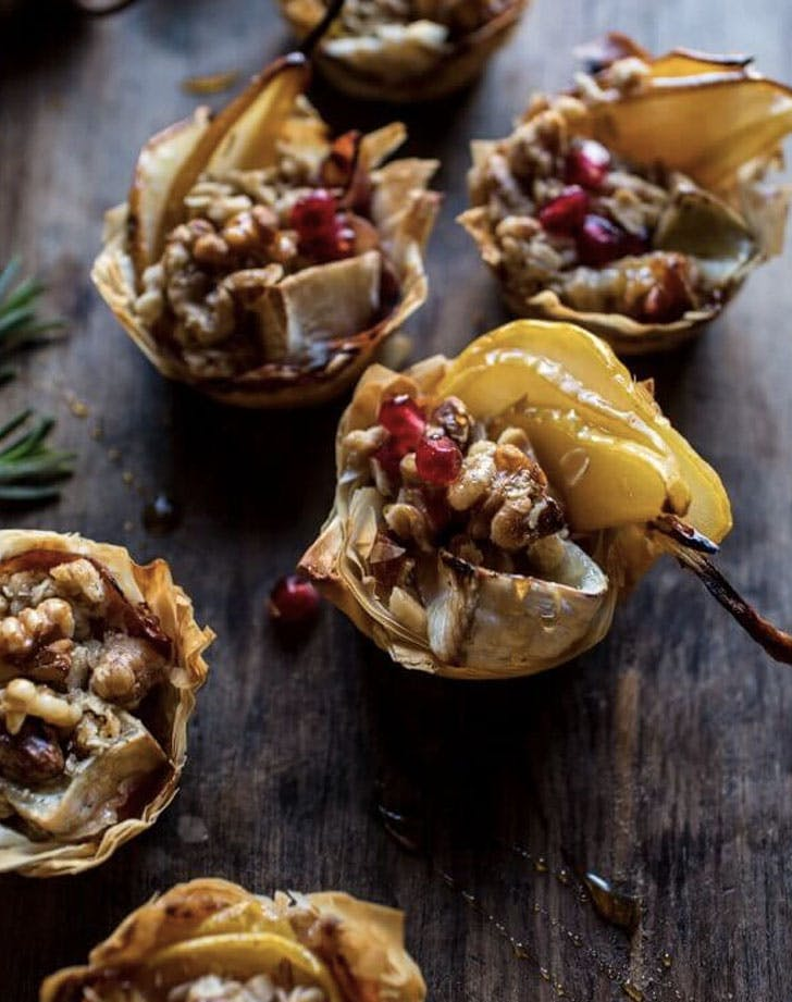 crispy prosciutto baked brie bites with honey pears and walnuts
