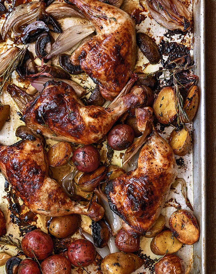 Dorie Greenspan's Sheet-Pan Balsamic Chicken with Baby Potatoes and Mushrooms