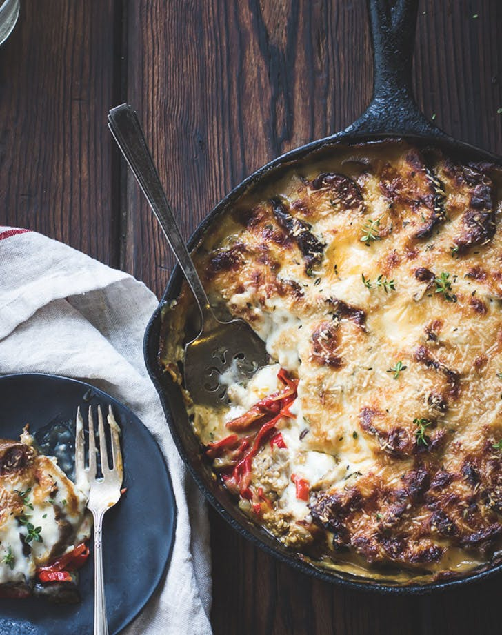 eggplant sweet pepper and bechamel gratin recipe