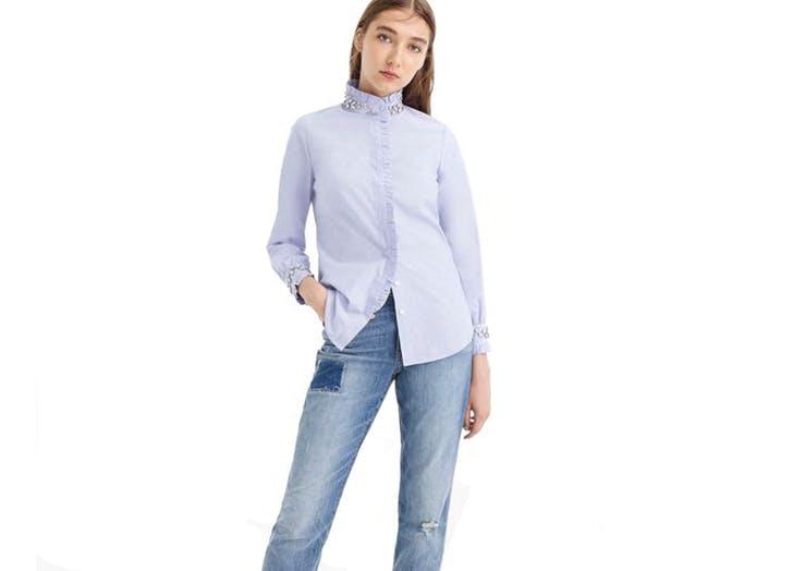 embellished collar shirt
