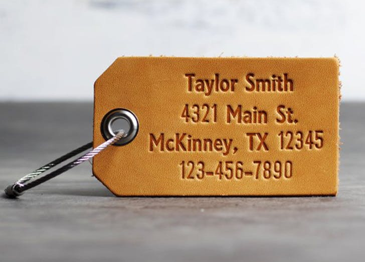 etsy embossed leather luggage tag