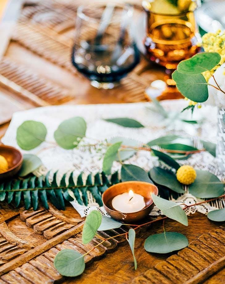 flat laid greens wedding decor1
