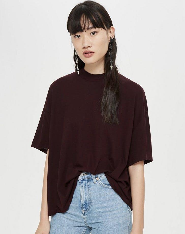 high neck t shirt